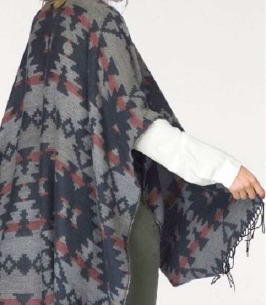 b4c340699013ed Tom Tailor poncho with fringes blue gray - Tie-Break GmbH