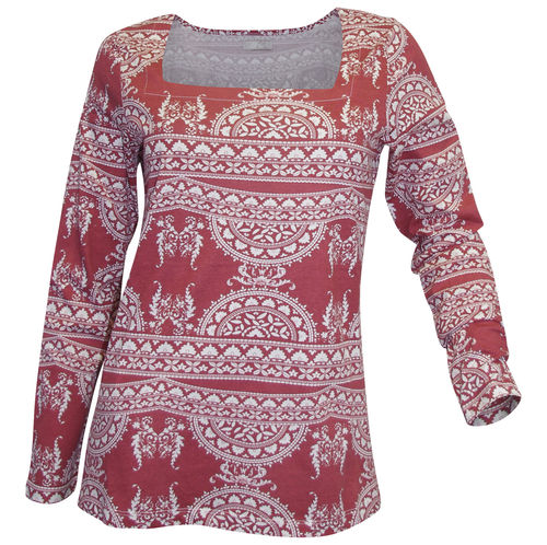Ethno print shirt burgundy white