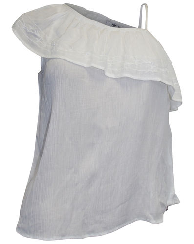 One shoulder blouse white