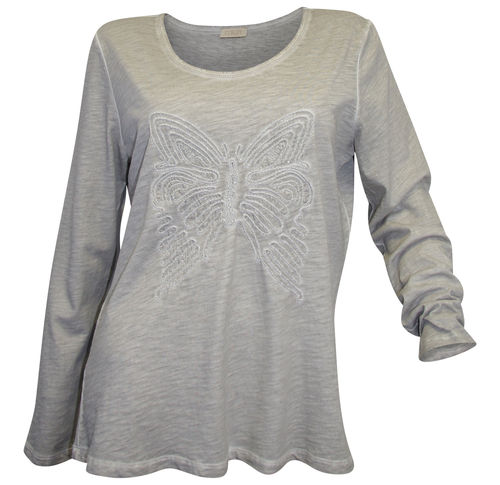 Langarmshirt Schmetterling grau washed