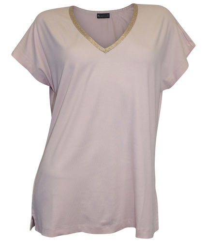 V-Neck Shirt mit Glitzersaum rosa