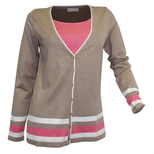 Cheer 2in1 Strickjacke beige koralle