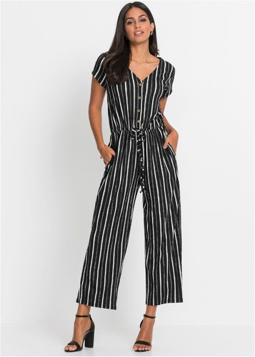 Overall black and white striped
