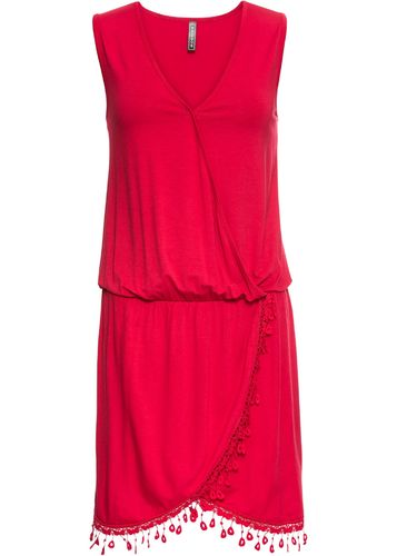 Wrap dress mini dress with crochet lace red